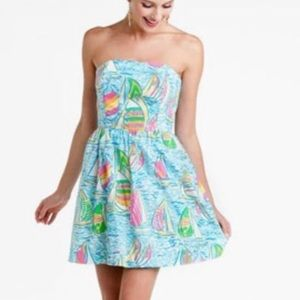 Lily Pulitzer strapless sailboat dress